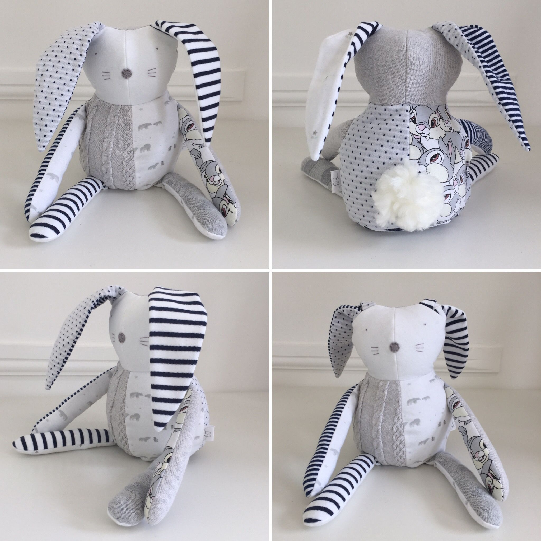 Memory bunny soft toy made from recycled preloved baby ...