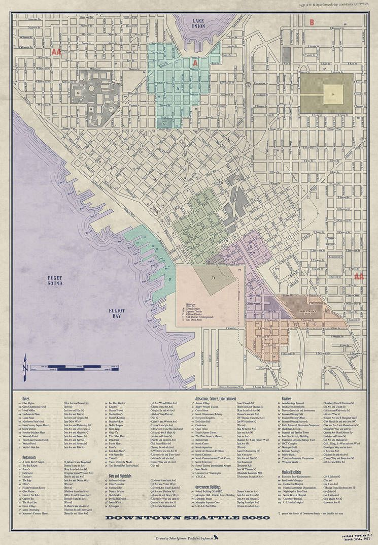 Shadowrun America Map.Shadowrun Seattle Downtown Detailed Downtown Map America In 2019