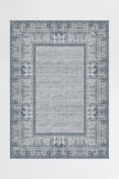 Vintage Daisy Bordered Blue Rug For The Home Grey Rugs