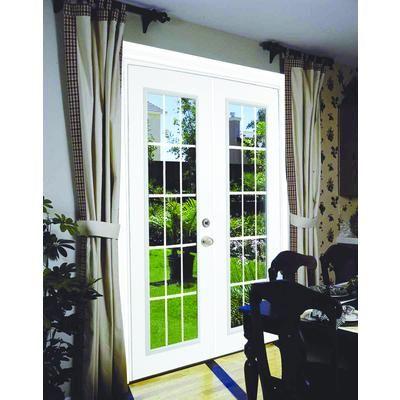 Stanley Doors Steel Garden Door 15 Lite Internal Grill 5 Foot X 82 375 Inches Pre Finch White Lowe Double Sliding Patio Doors Patio Doors French Doors Patio