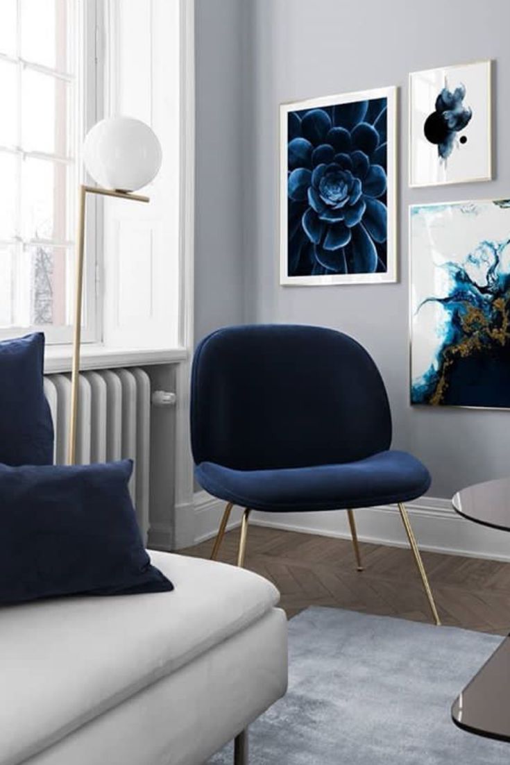 Decoration Salon Moderne Blanc Et Bleu Also Pinterest Rh