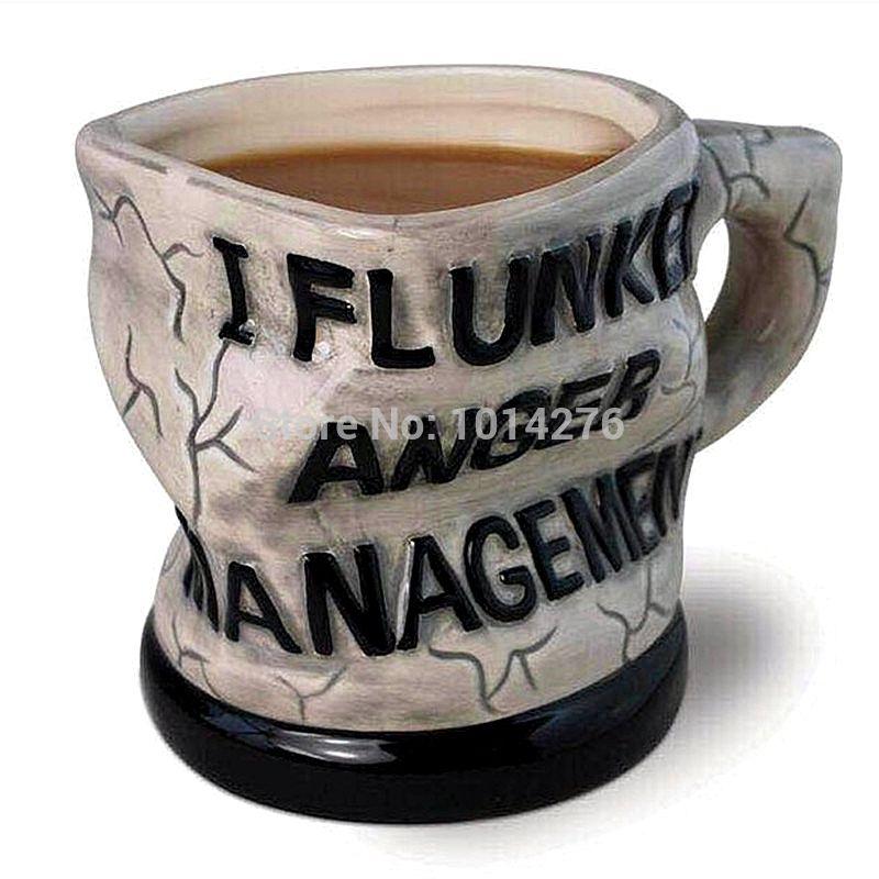 Funny 12oz I Flunked Anger Management Mug Distorted Ceramic Mug Coffee Cup Novelty Drinkware Gift