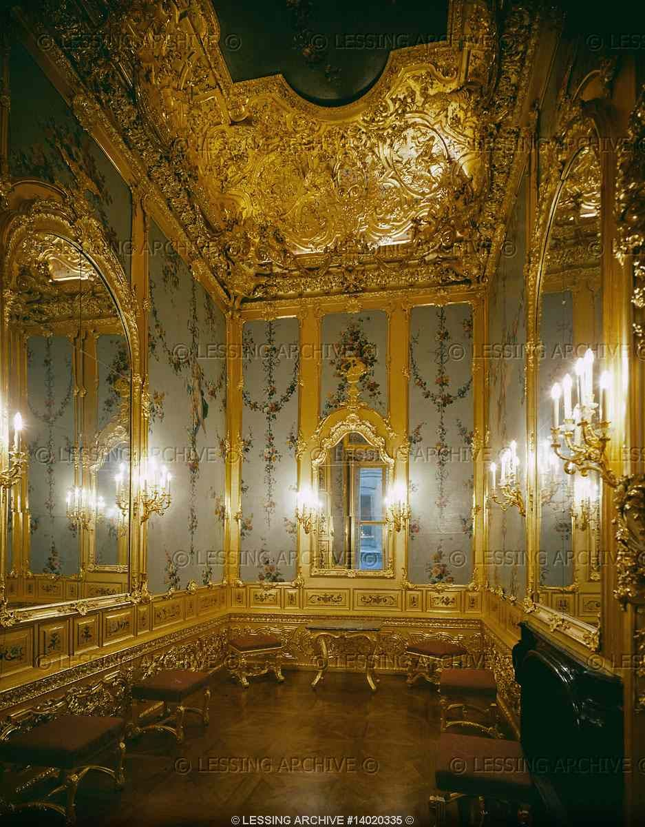 The Gold Cabinet in Prince Eugene's winter palace in Vienna. Austrian Rococo style. 18th century.