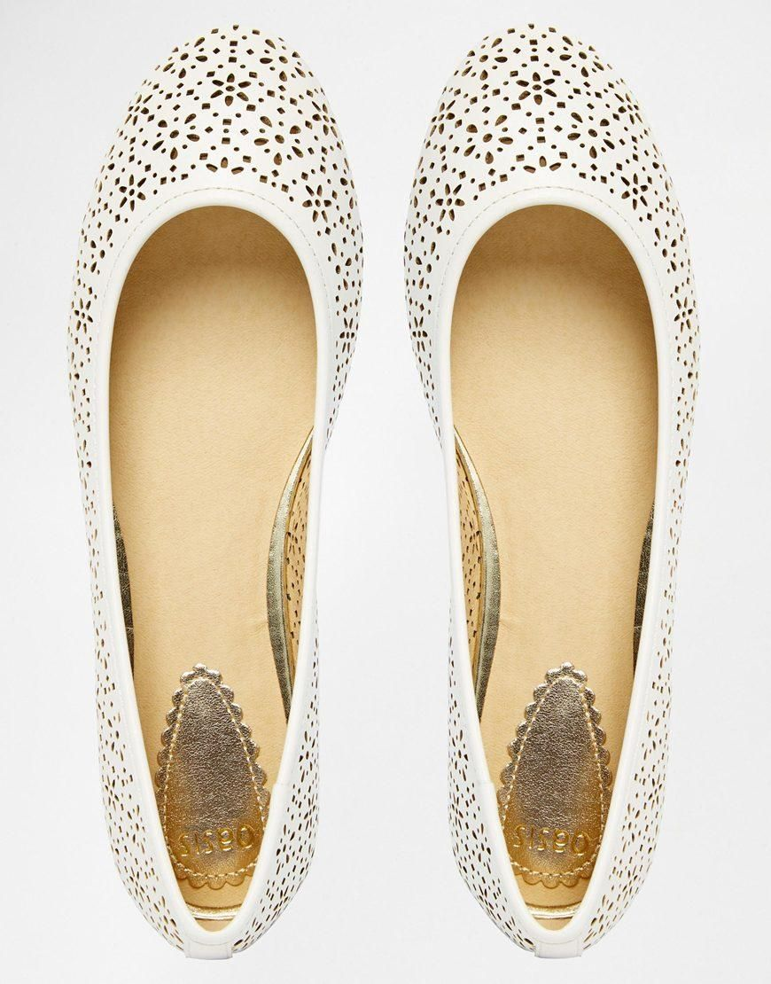 Oasis | Oasis Lazer Cut Out Ballerina Flat Shoes at ASOS