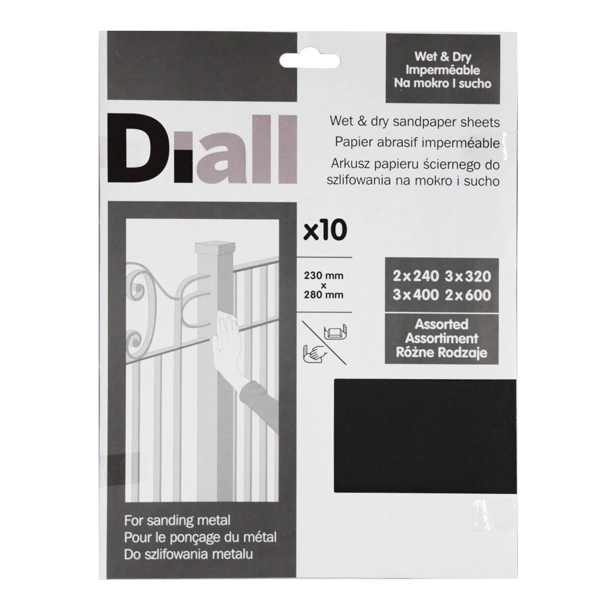 Diall Mixed Grit Assorted Sandpaper Sheet Pack Of 10 Departments Diy At B Q Sanding Sandpaper Wet And Dry