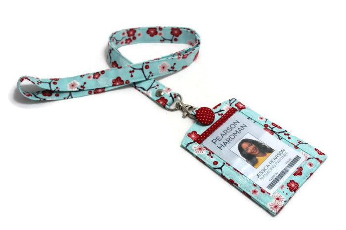Id39 A Fabric Lanyard Or A Vertical Id Badge Holder With A Back Pocket A Lanyard Fabric Lanyard Upcycle Sewing Badge Holders