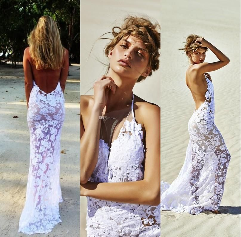 2015 Sexy Backless Wedding Dresses Mermaid Halter Lace Custom Made Cheap Summer Beach