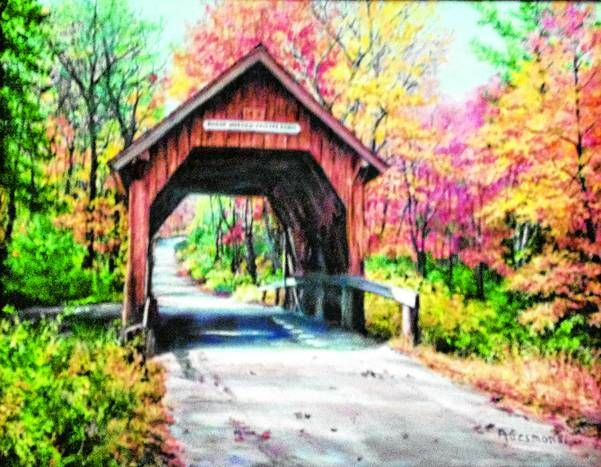 An oil painting on canvas of the Swamp Meadow Covered Bridge in Foster, by Audry Gesmondi. Submitted by her daughter Fayette Amsden.