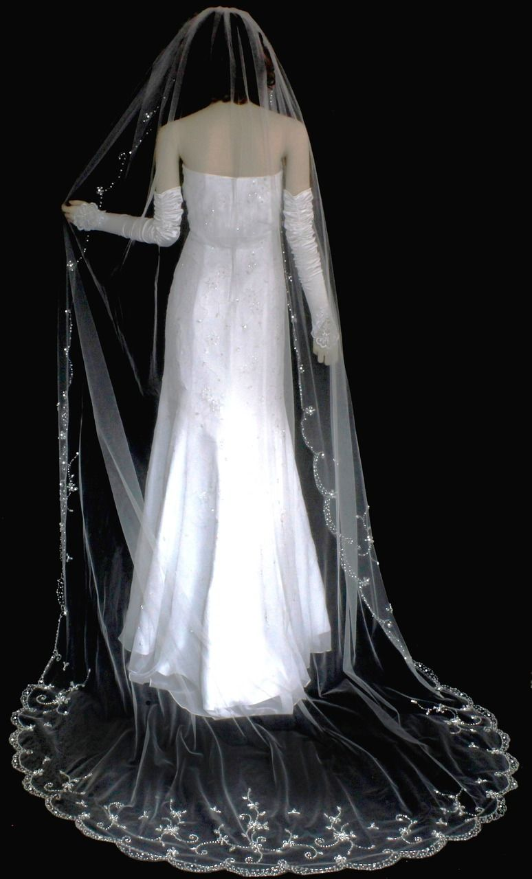 Sparkling Beaded Embroidery Cathedral Wedding Veil VF3123