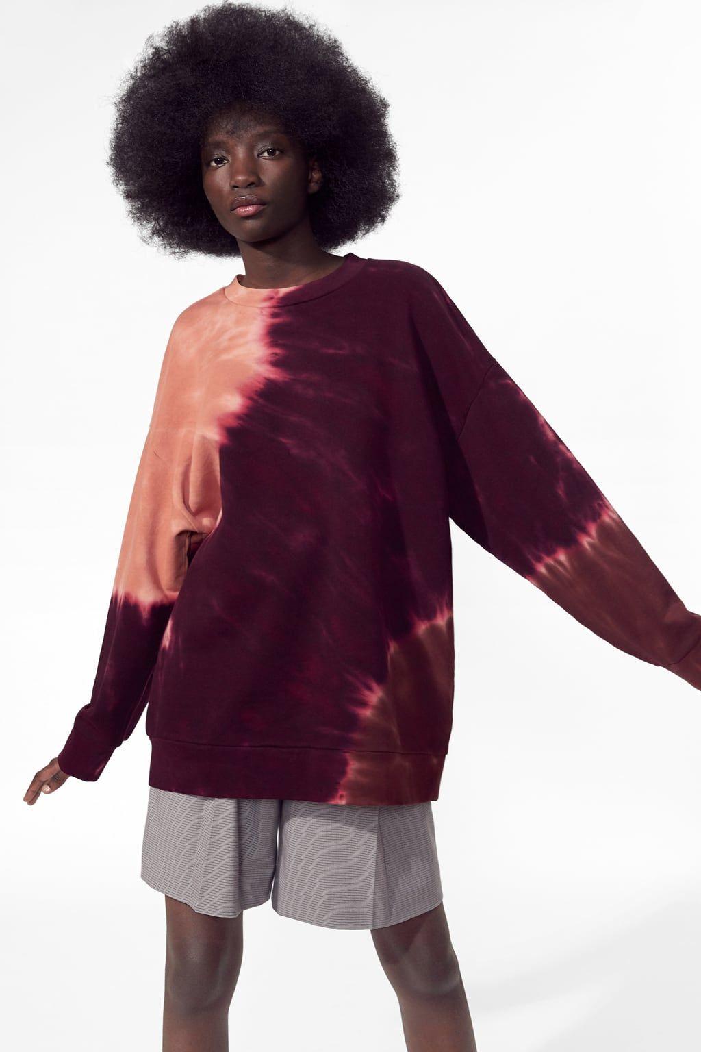 e71a134e Image 7 of TIE DYE SWEATSHIRT from Zara Animal Print Blouse, Versace Logo,  Cycling