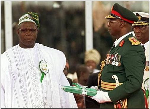 The inauguration of Olusegun Obasanjo.  From http://xenohistorian.faithweb.com/africa/
