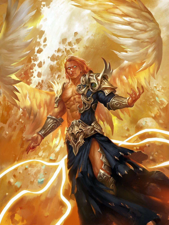 Aasimar Sorcerer aasimar; angel; wings; man; male; d&d; pathfinder; dnd