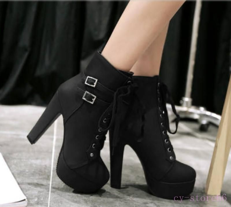 40215f804fb  10.85 - Womens Buckle High Heel Platform Lace Up Ankle Boots Autumn Knight Plus  Size  ebay  Fashion