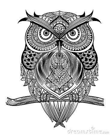 Dark Bohemiam Owl Skull Tattoo Designs