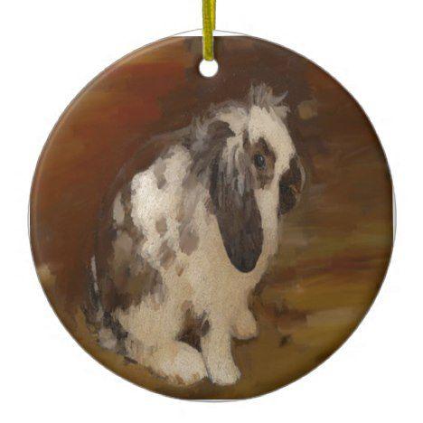 Beautiful Baby Lop Eared Rabbit Kit Ceramic Ornament
