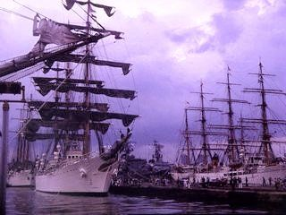 """July 4, 1976 : The American Bi-Centennial Celebration : NYC : Argentina's """"The Libertad"""". ~~ I was there. The TALL SHIPS were a primary event of that weekend. ♥ ~~ Click on the link to access my full collection of Bi-Centennial pics on my Facebook page AND to read a bit about this once-in-my-lifetime occasion. Please """"Follow"""" or """"Friend"""" me on Facebook. Please """"Follow"""" me here on Pinterest, also. ♥"""