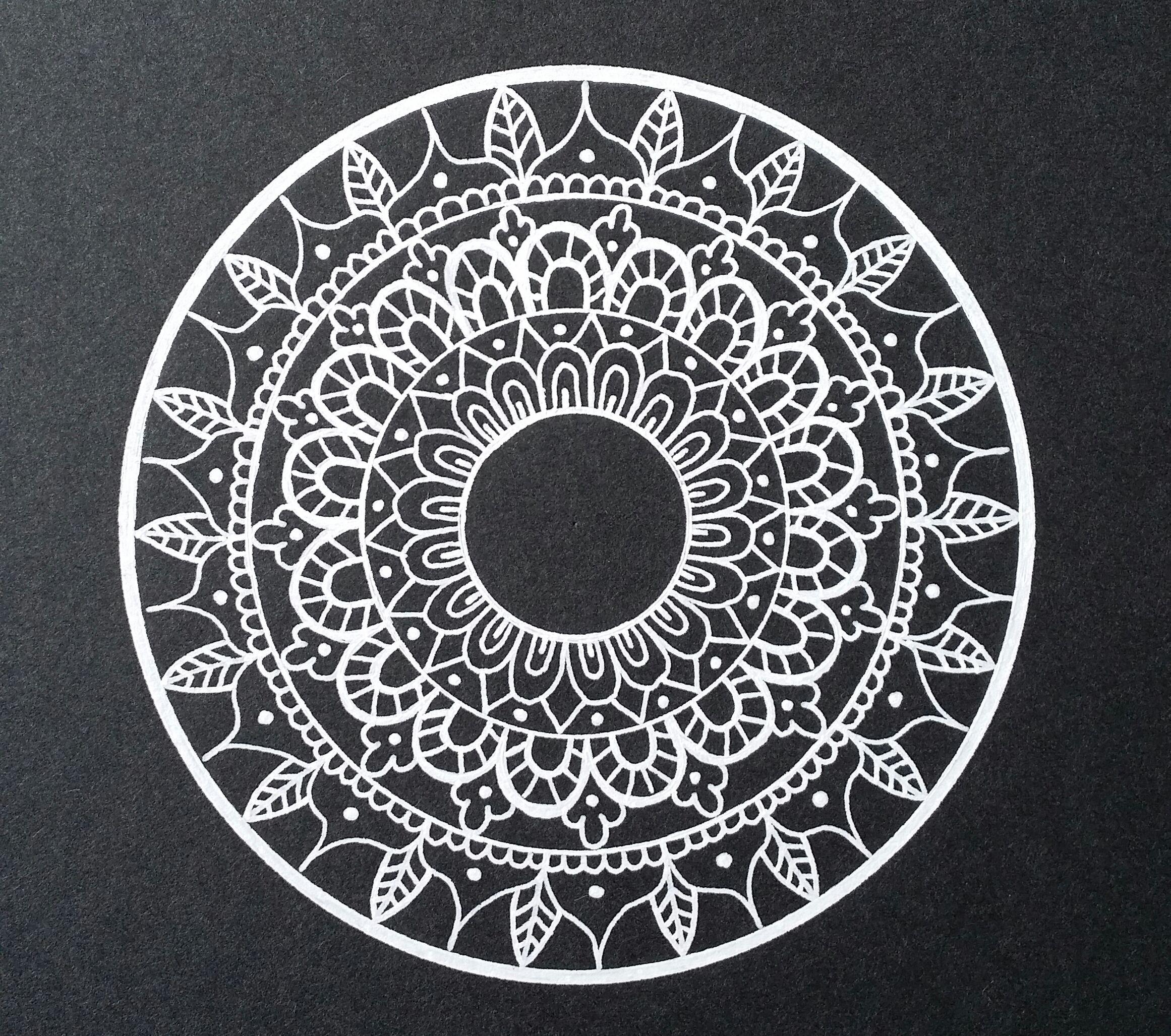 Black and White mandala - Drawn freehand - Gellyroll White pen ...