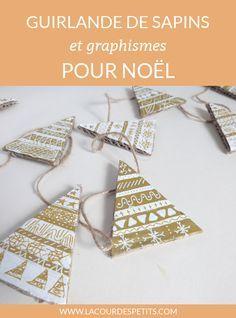 Guirlande décorée de graphismes pour Noël | La cour des petits