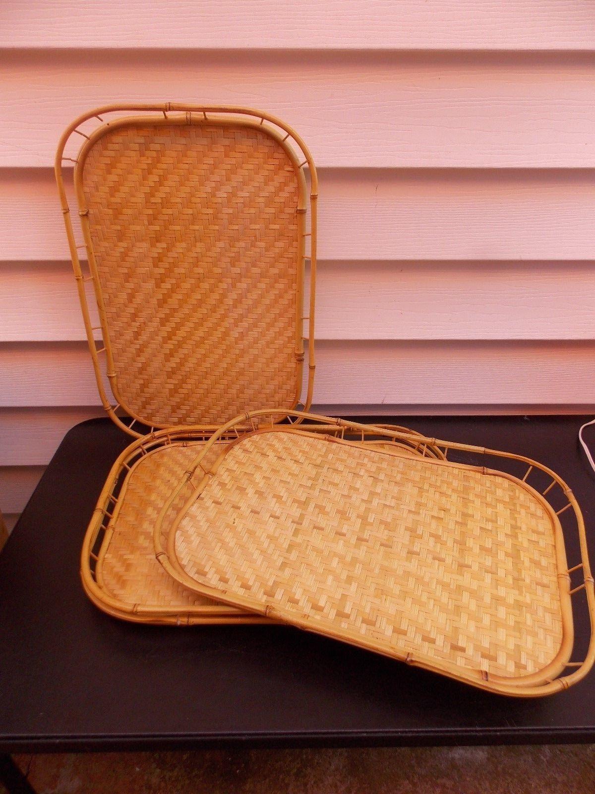 Vintage Bamboo Rattan Wicker Tiki Serving Lap Breakfast TV