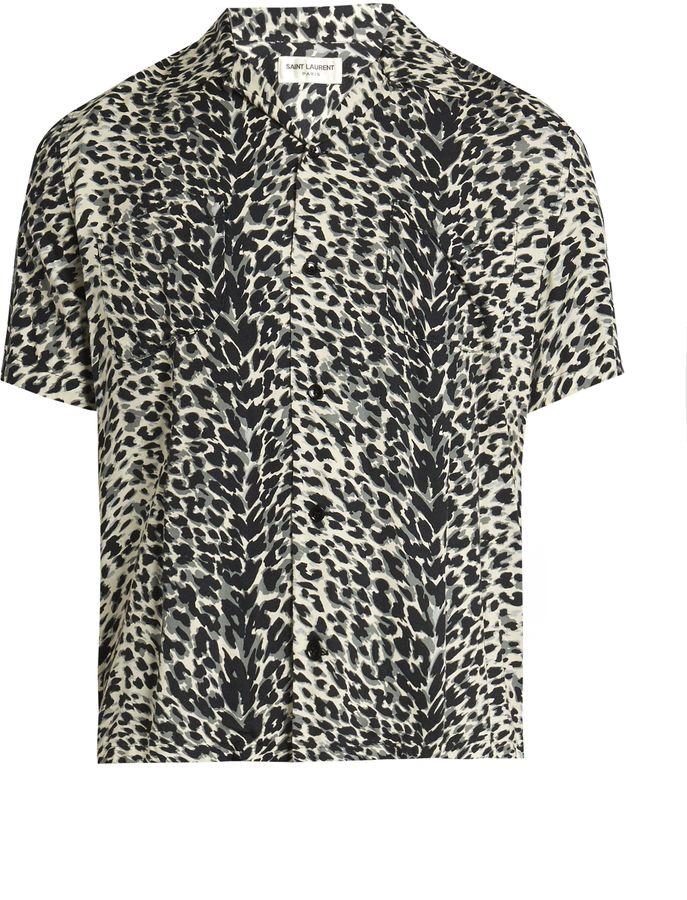 156762c48f SAINT LAURENT Leopard-print short-sleeved twill shirt | I would go ...