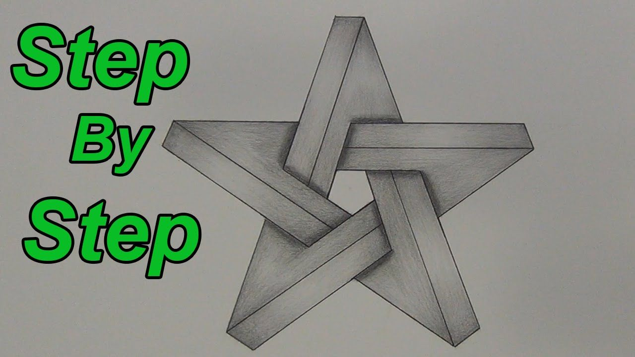 How To Draw An Impossible Star Step By Step 3d Star Impossible