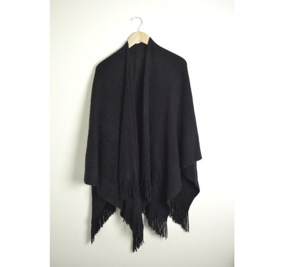 Women's Capes and Wraps | Black Poncho Wrap / Womens Wrap Shawl