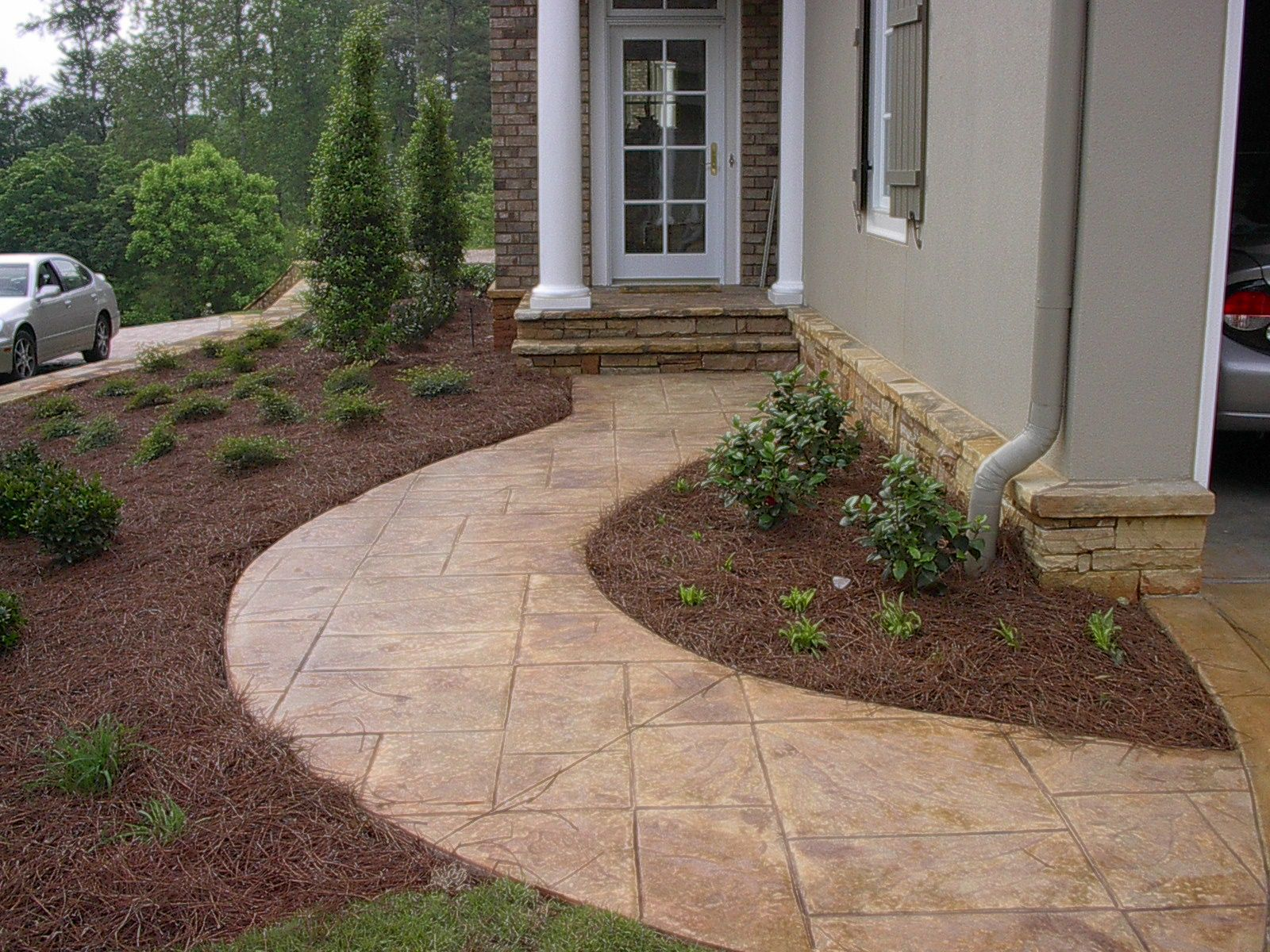 Stamped concrete sidewalk, landscape | Front yard patio ... on Concrete Front Yard Ideas id=71252