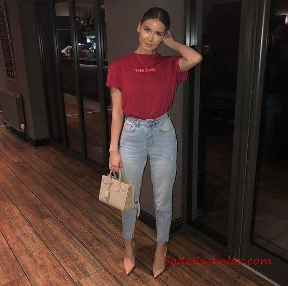 2020 taille haute jeans combinaison suggestions bleu taille taille denim pantalon rouge t-shirt à manches courtes poudre stiletto chaussures   – Kombin