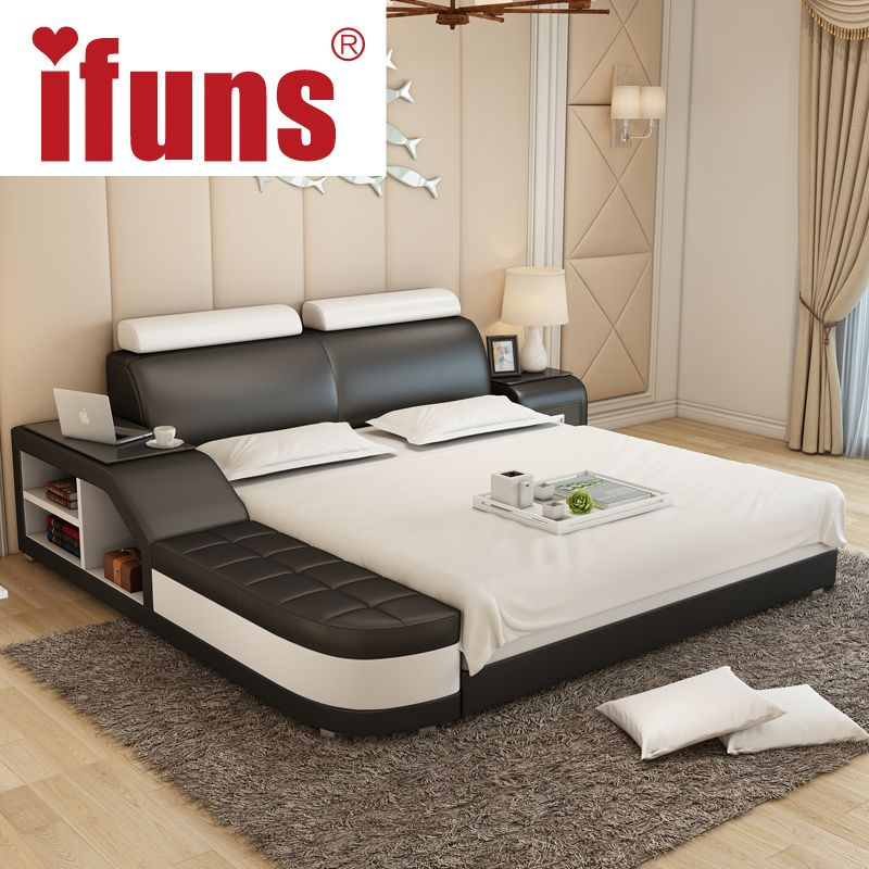 Exceptional Name:IFUNS Luxury Bedroom Furniture Modern Design Kingu0026queen Size Genuine  Leather Bed With Tatami Storage And Double Bed Frame