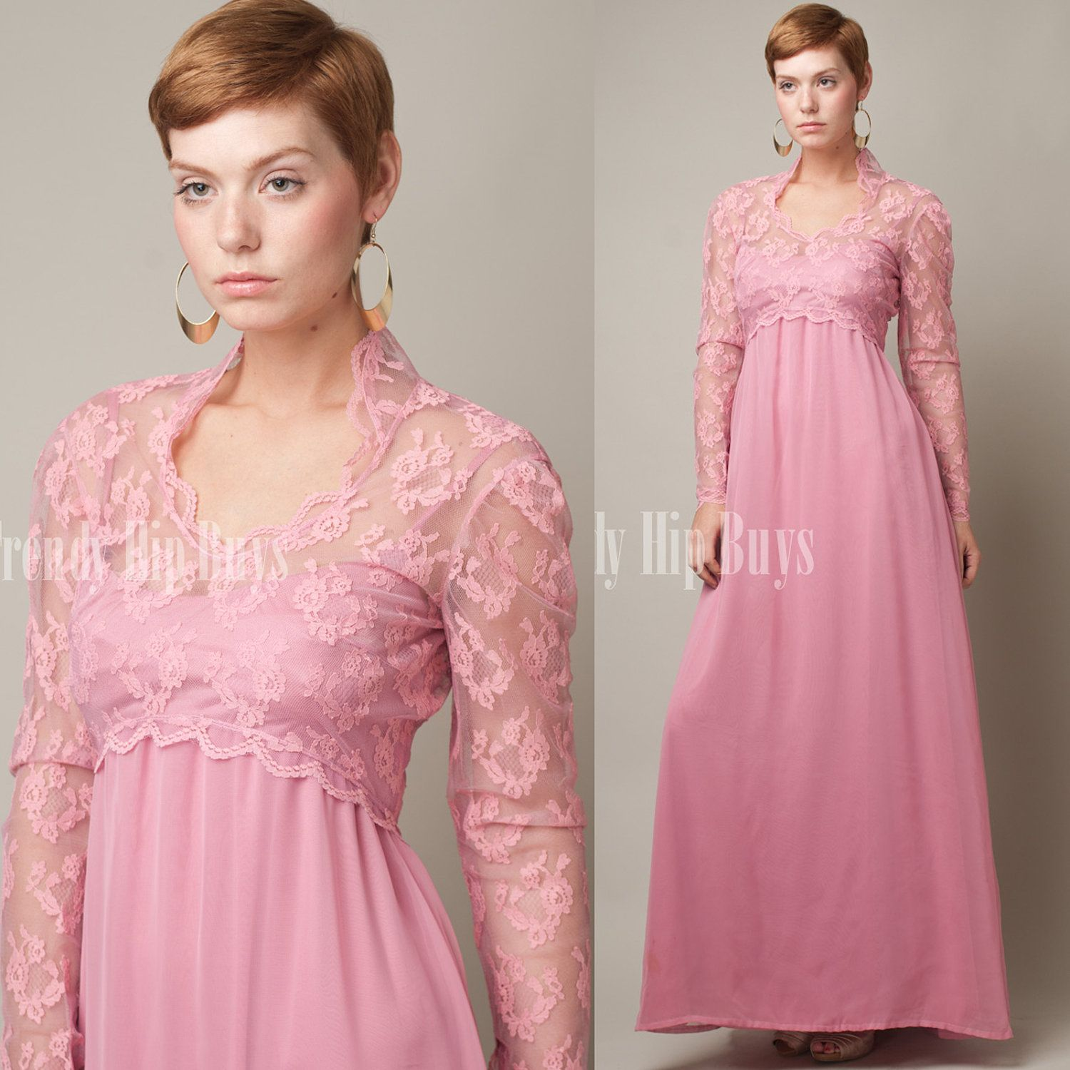 Vintage 70s Sheer Romantic Pink LACE Empire Evening Dress
