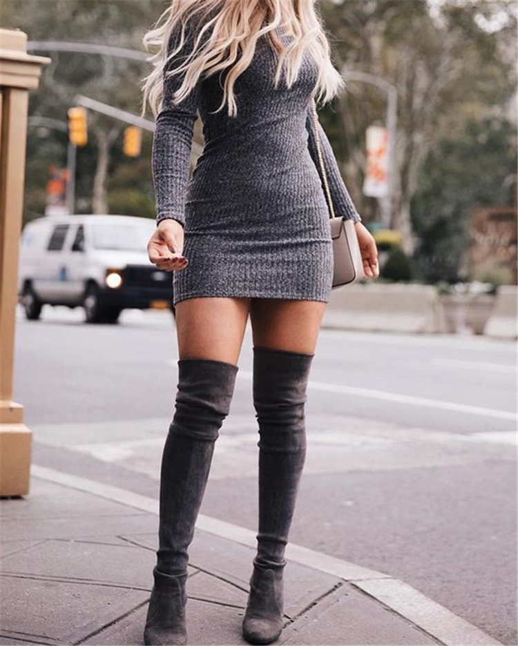 50 Perfect And Modest Winter Outfits Ideas With Knee High Boots - Page 40 of 50 - Women Fashion Lifestyle Blog Shinecoco.com