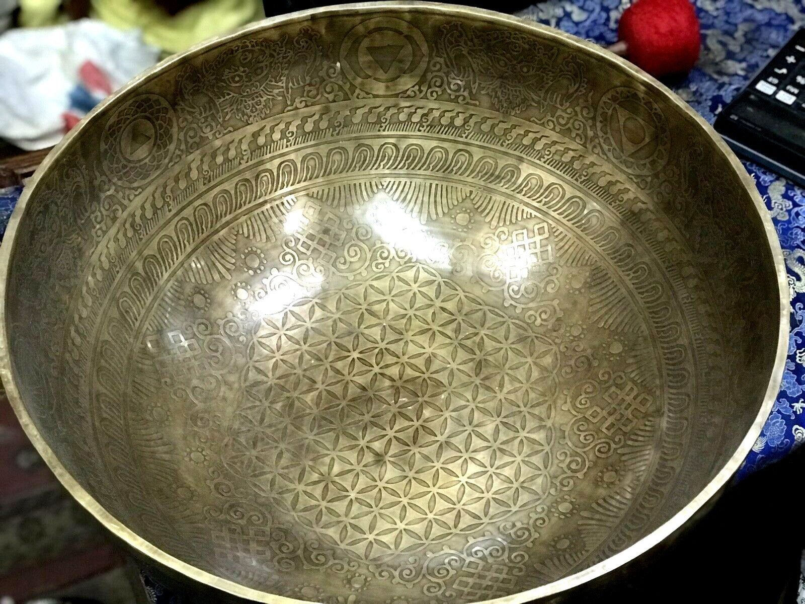 20 Inch Large Singing Bowl Flower Of Life Sound Bowl Tibetan Master Piece Best Healing Meditation Therapy Bowls Singing Bowls Handmade Bowl Handcrafted Bowls