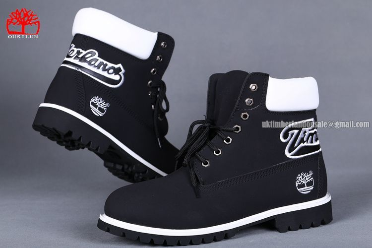 5e0a426ef701 Timberland 6 Inch Waterproof Boots For Men Black White Knitting Logo  78.00