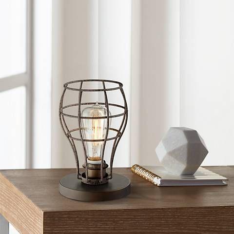 Oldham Industrial Uplight 9 1 2 H Edison Bulb Table Lamp 8x335 Lamps Plus Edison Bulb Table Lamp Table Lamps For Bedroom Edison Bulb