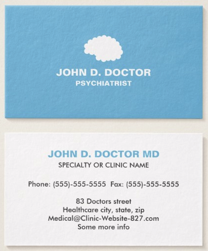 Modern Blue Psychiatrist Business Card With Brain Zazzle Com Medical Business Card Psychologist Business Card Doctor Business Cards