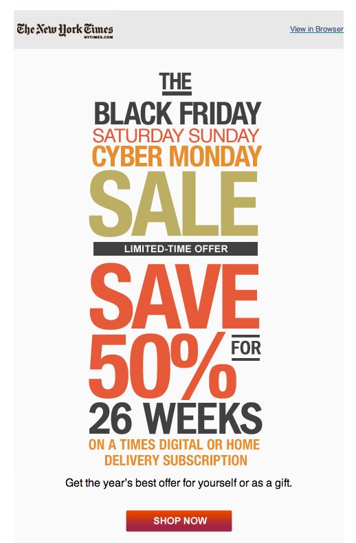 new york times black friday sale simple clean email design - sample email marketing