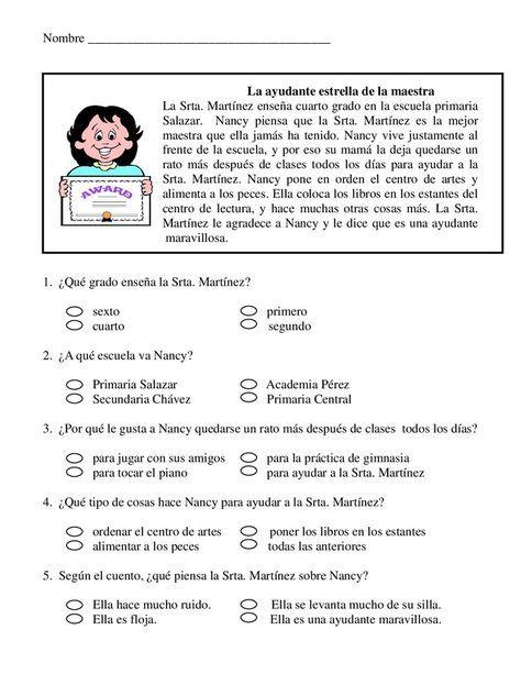 1º primaria.texto medio.Letra imprenta.   Comprension Lectora ...