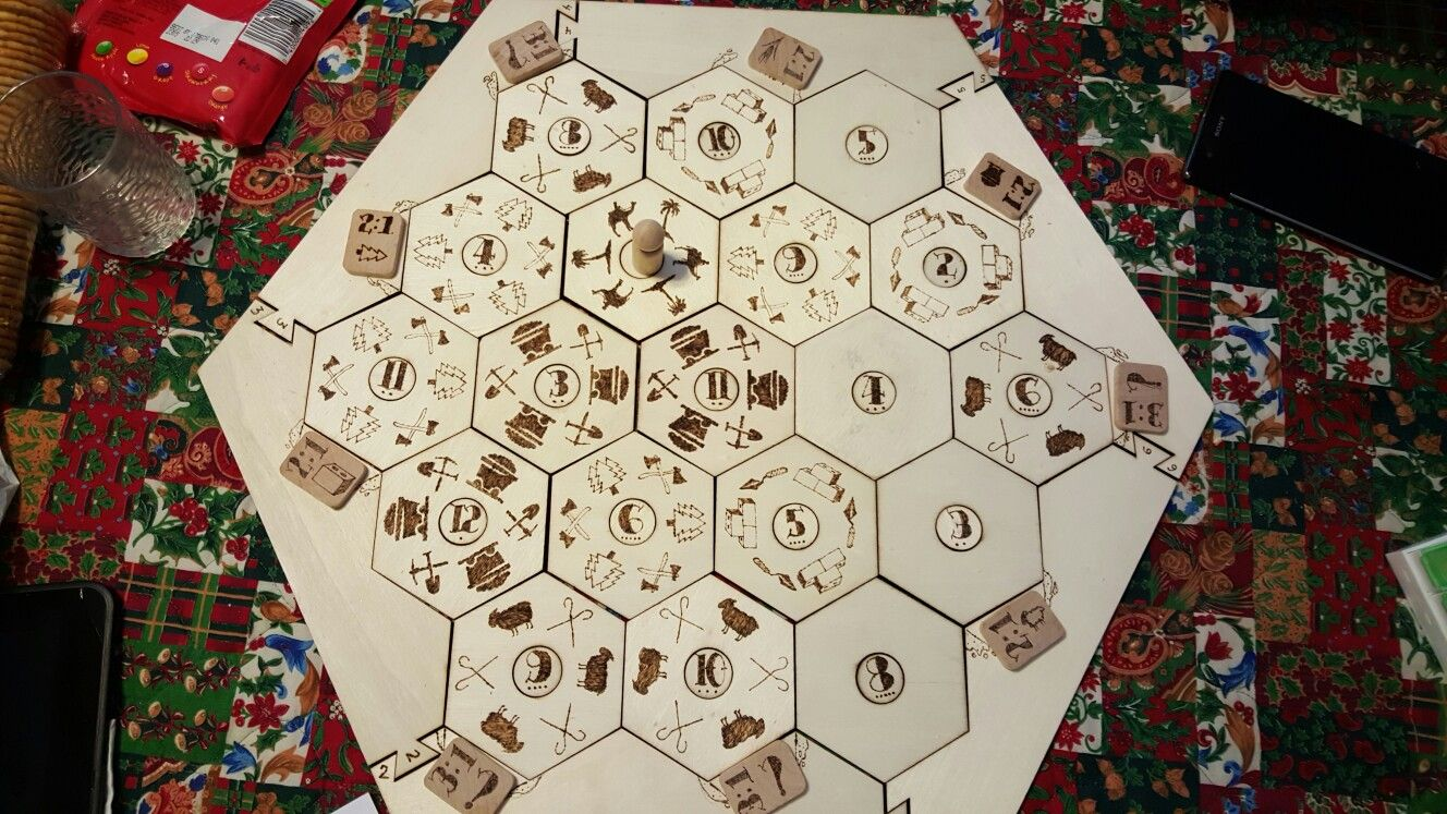 Custom Catan board. Most of the wood burning is done