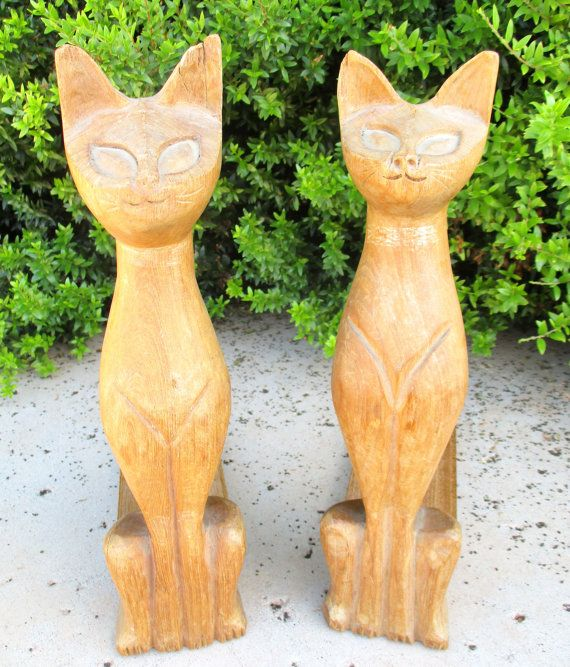 Hand carved wooden siamese cats bookends wood by