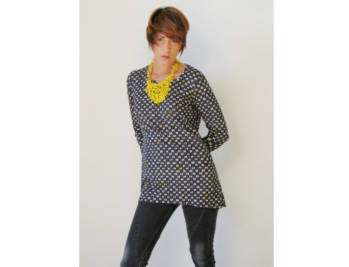 Monika Varga » Collections  DORA TOP This top is a can't miss item! Grey with black and pumpkin yellow.