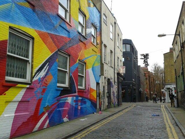 Fab street art near Redchurch Street - with crazy hanging stuff too!