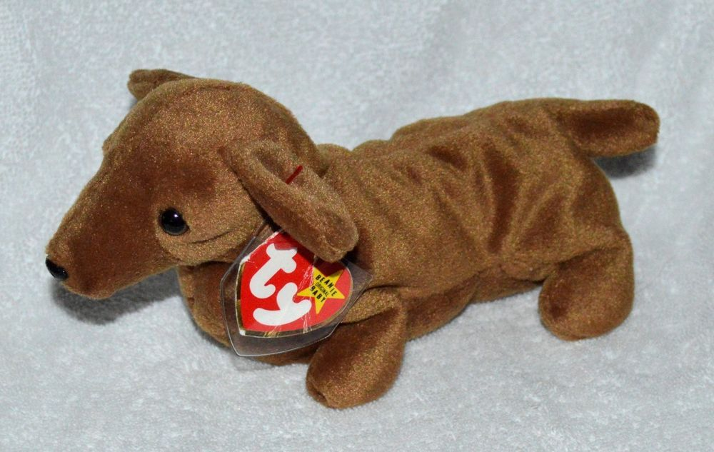 53f59c952cd TY Weenie Dachshund Wiener Dog Original Beanie Baby 1995 PVC Retired Plush   Ty