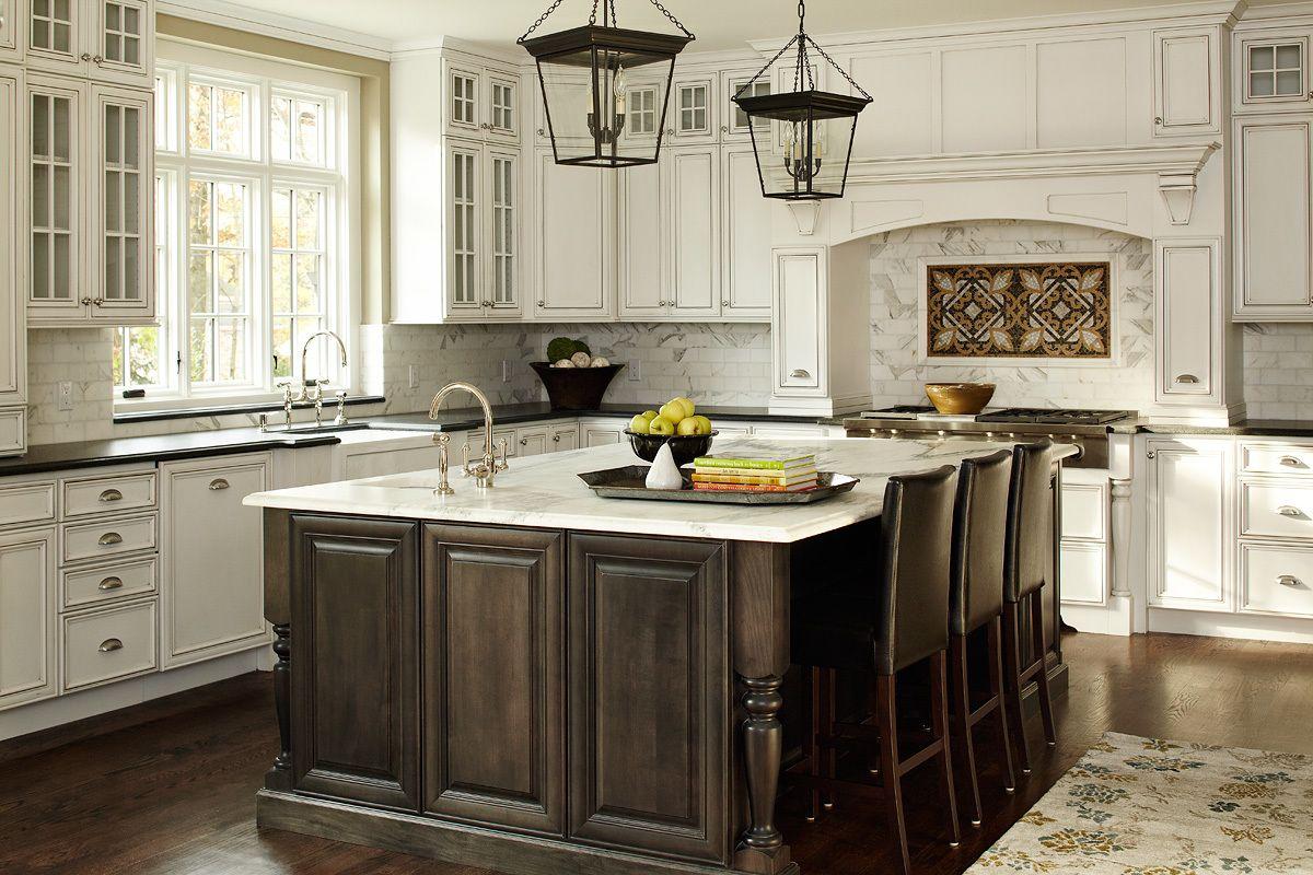 Best Kitchen Antique White Cabinets Dark Brown Island 400 x 300