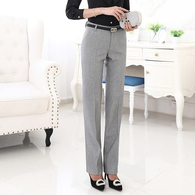 9e65fc3ce30f Lenshin Belt Loop Plus Size Formal Pants for Women Office Lady Style Work  Wear Straight Trousers Female Clothing Business Design