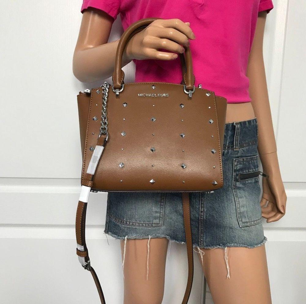 Nwt Michael Kors Ellis Small Satchel Brown Leather Crossbody Bag Purse New Michaelko Handbags Michael Kors Brown Leather Crossbody Bag Michael Kors