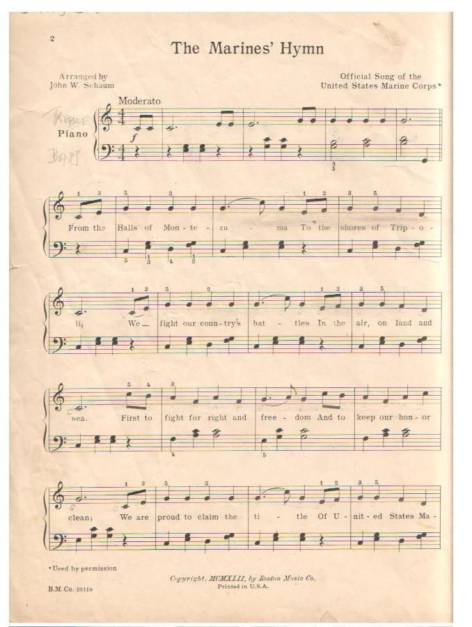 Lyric marine corps hymn lyrics : Coast Guard Song Sheet Music D part 12 flammables | Sheet Music ...