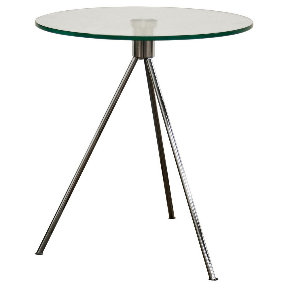 Round glass table top view triplet round glass top end table with tripod base  baxton studio