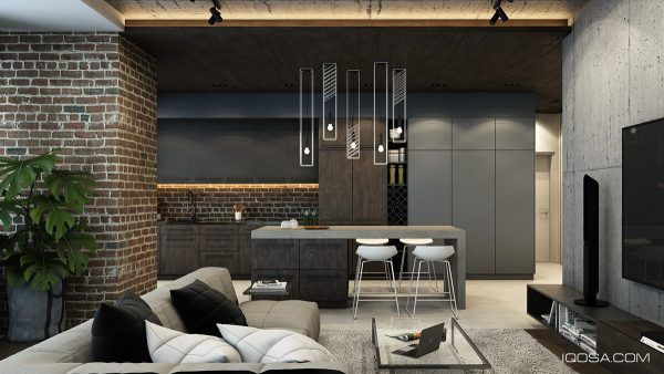 Living Rooms With Exposed Brick Walls Modern Kitchen Island Design Minimalist Living Room Design Modern Kitchen Design