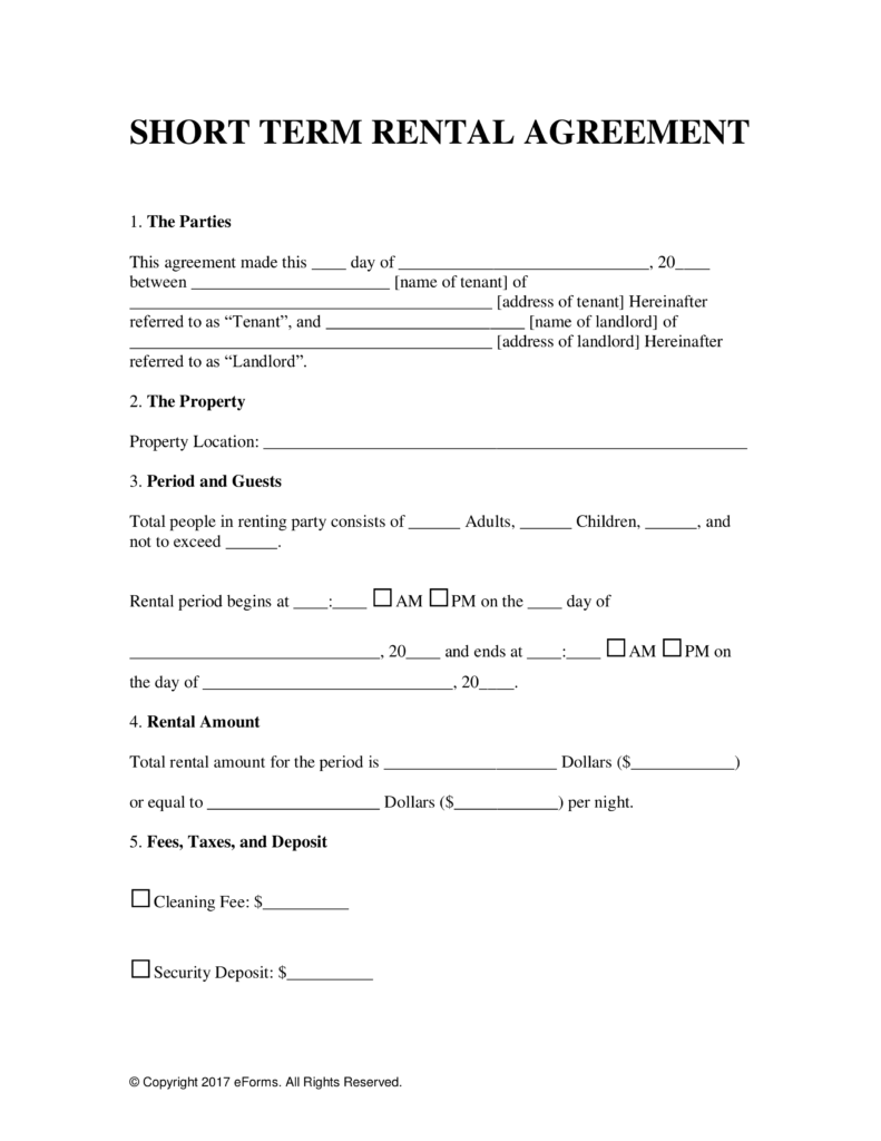 Free Vacation (Short Term) Rental Lease Agreement - Word | Pdf | Eforms –