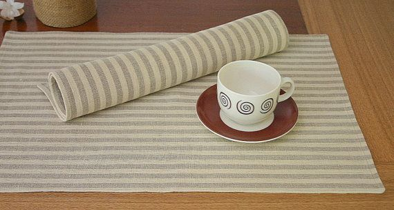 Linen placemats Striped Natural grey and by KatysHomeDesigns, $12.00